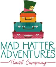 mad hatter three suitcases logo full